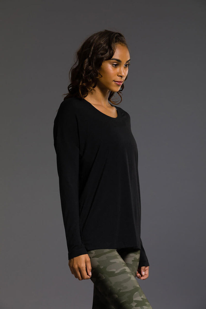 SEA YOGI Braided Back long sleeve top in Black, Online Yoga Shop, right side