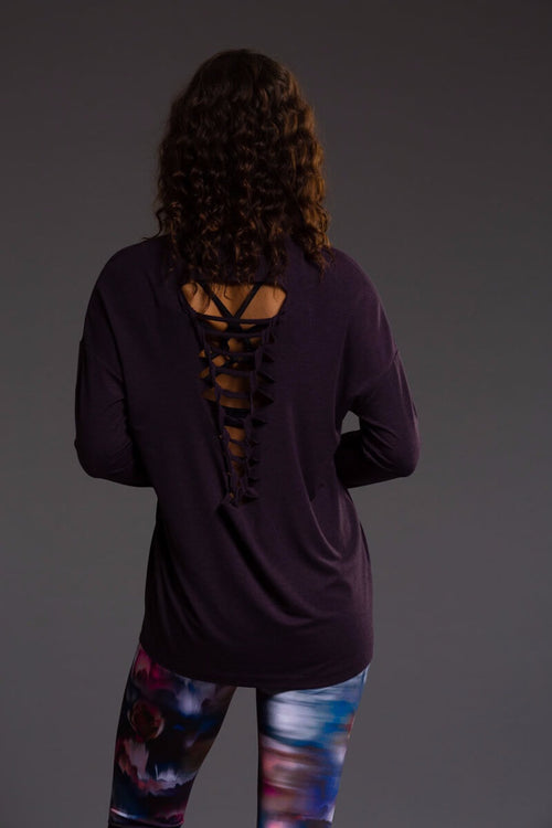 SEA YOGI Braided Back long sleeve top in Dhalia, Online Yoga Shop, back