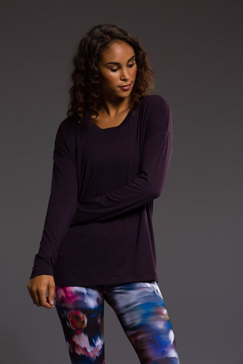 SEA YOGI Braided Back long sleeve top in Dhalia, Online Yoga Shop, front