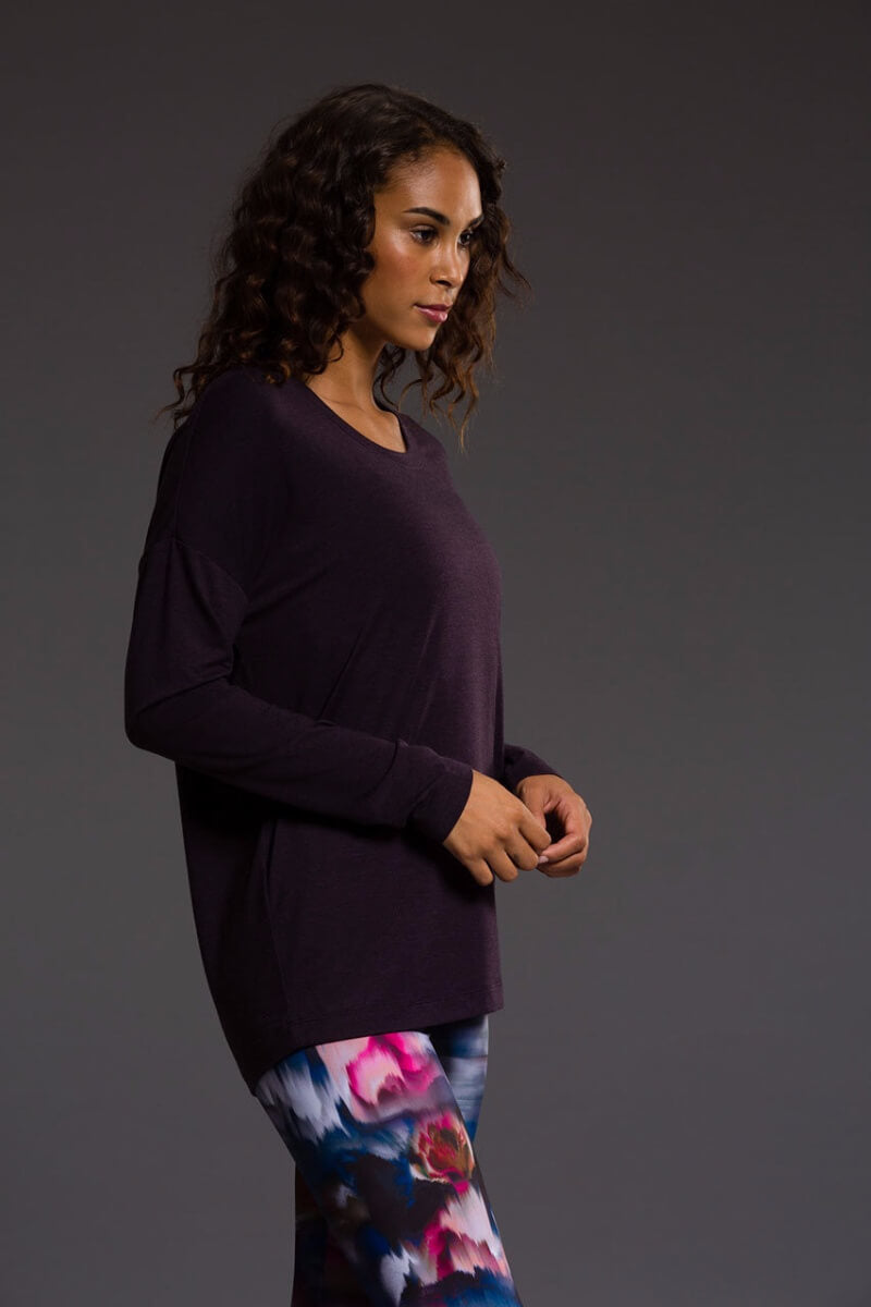 SEA YOGI Braided Back long sleeve top in Dhalia, Online Yoga Shop, right side