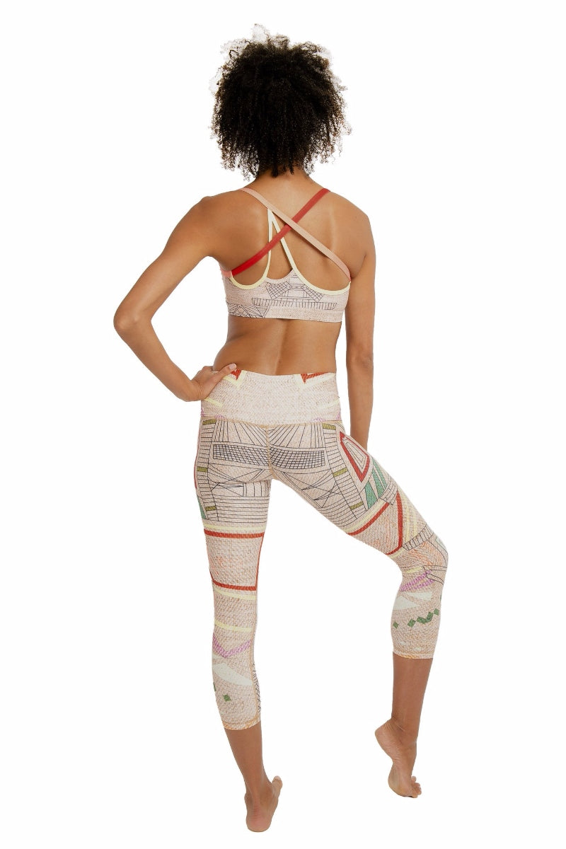 SEA YOGI // Aztec Beachcomber Crop leggings by Niyama Sol, Online Yoga Apparel, back