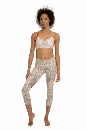 SEA YOGI // Aztec Beachcomber Crop leggings by Niyama Sol, Online Yoga Apparel, front