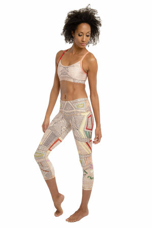 SEA YOGI // Aztec Beachcomber Crop leggings by Niyama Sol, Online Yoga Apparel, side left