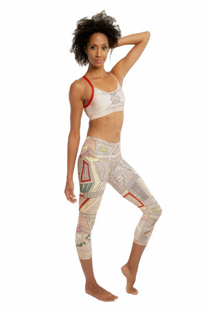 SEA YOGI // Aztec Beachcomber Crop leggings by Niyama Sol, Online Yoga Apparel, side right