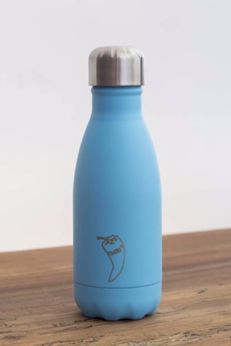 Chilly water bottle in paste blue colour and 260ml size, front image - SEA YOGI