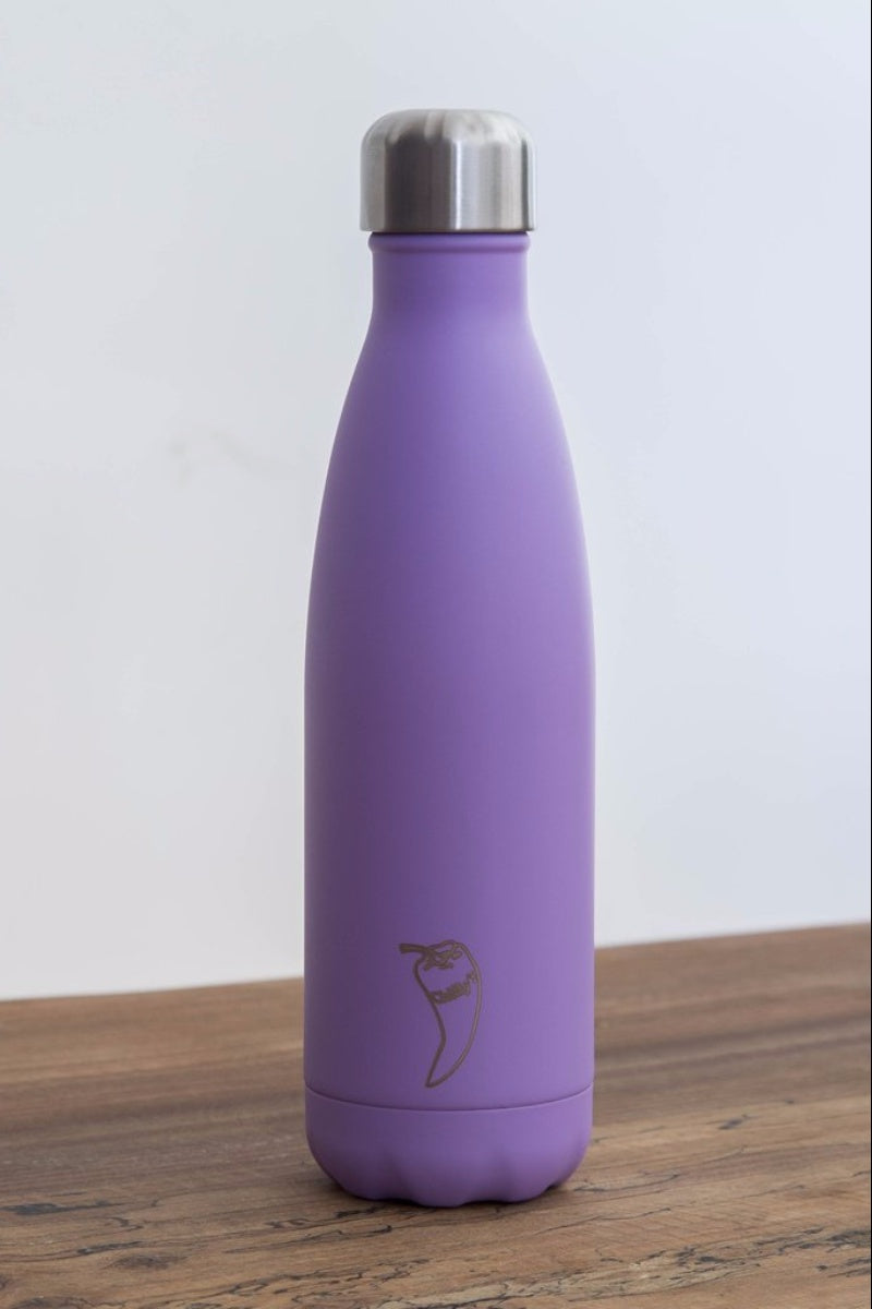 Chilly water bottle in paste purple colour and 500ml size, front image - SEA YOGI