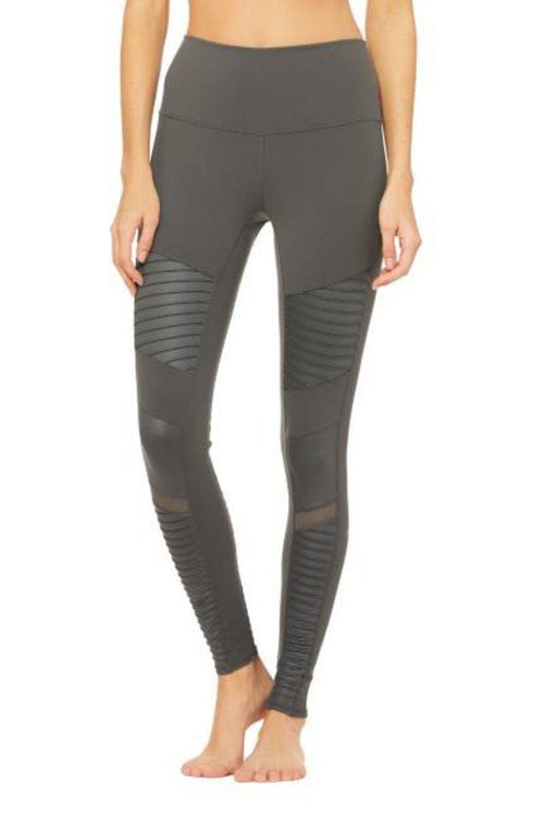 ALO YOGA // HIGH WAIST MOTO LEGGING - ANTHRACITE GRAY