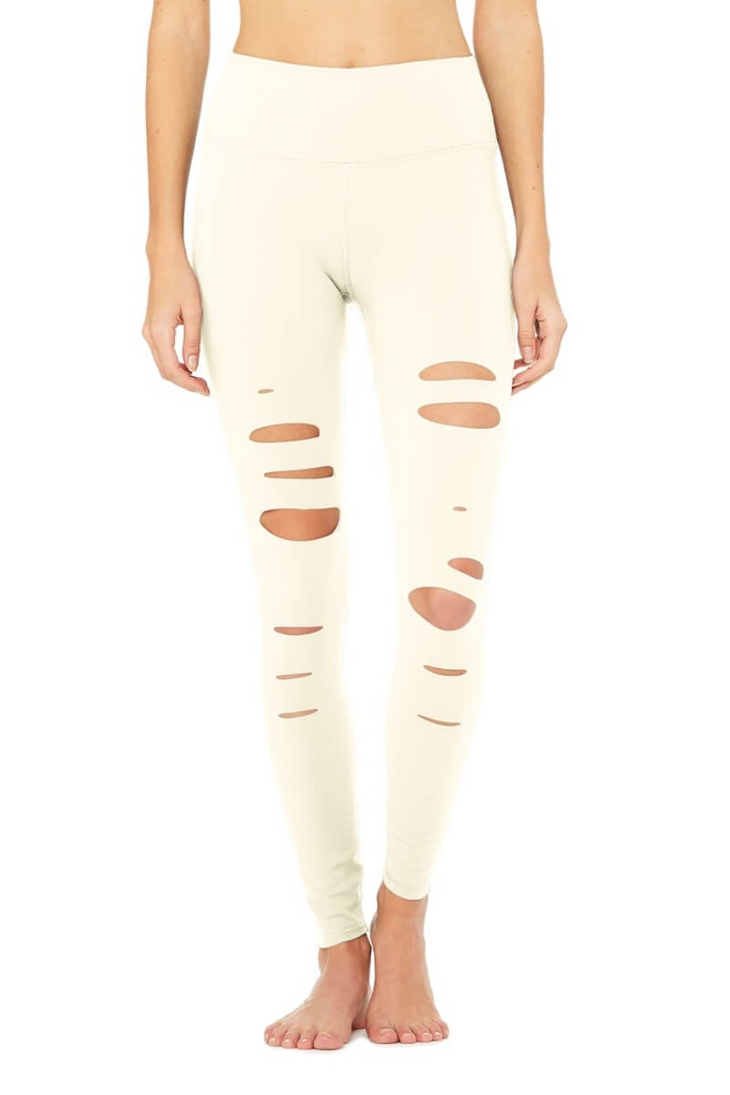 ALO YOGA // HIGH WAIST RIPPED WARRIOR LEGGING - PRISTINE