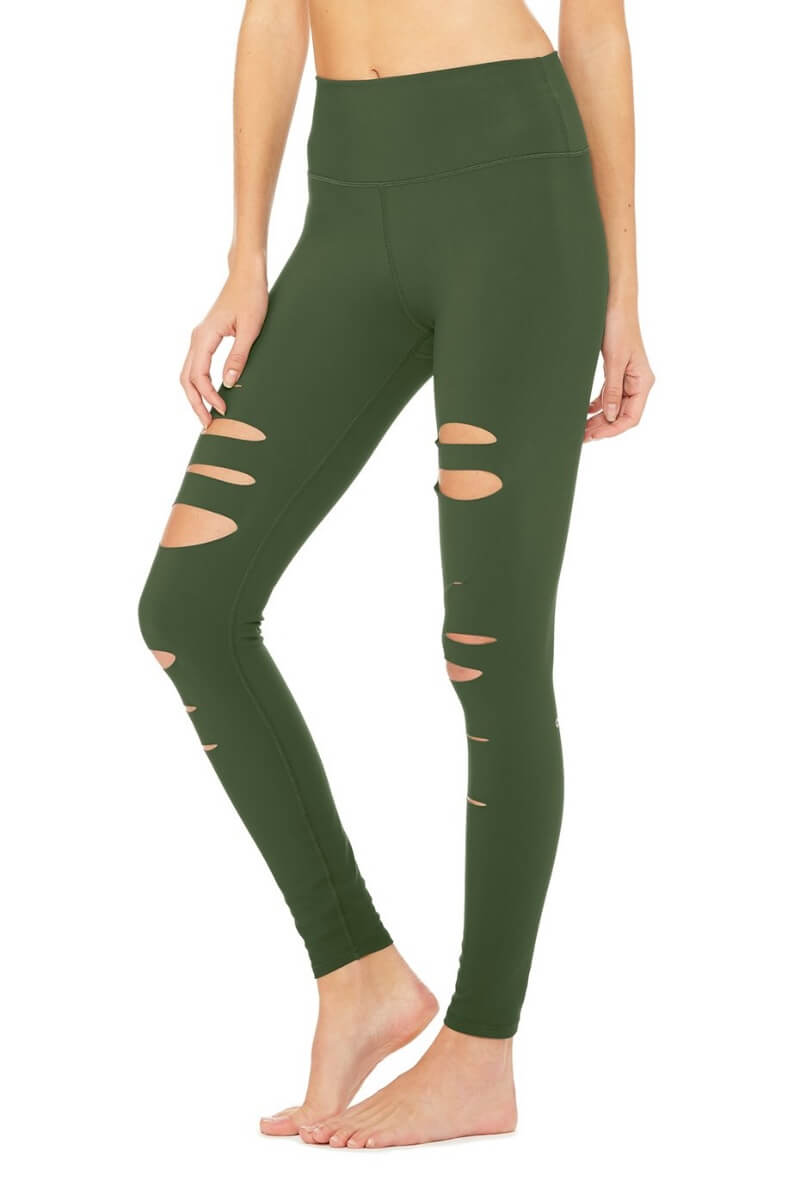 ALO YOGA // HIGH WAIST RIPPED WARRIOR LEGGING - HUNTER