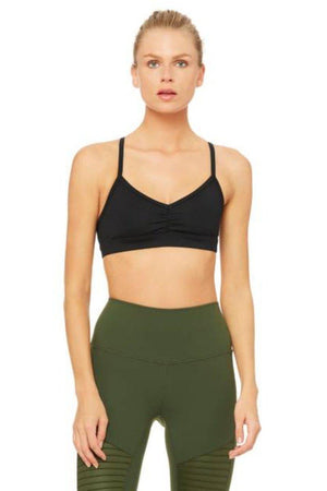 SEA YOGI // Sunny strap bra in Black by Alo, Sea Yogi online yoga shop, front