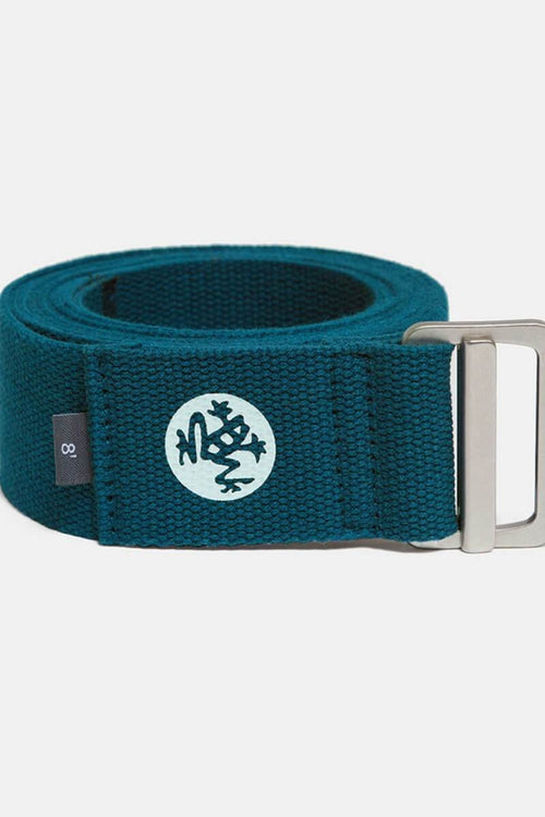 Sea Yogi - Align Yoga Strap Belt from Manduka in Maldive blue - rolled up