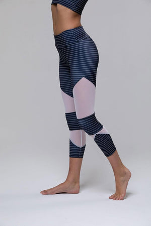 ONZIE // CUT OUT CAPRI LEGGING - STRIPE COMBO