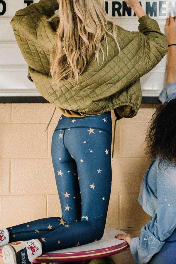 Sea Yogi - Teeki Great Star Nation Leggings for yoga and pilates - Blue - lifestyle