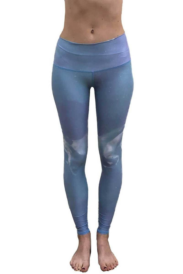 SEA YOGI // High Horses hot pant in Blue by teeki, recycled yoga leggings, Sea Yogi, front