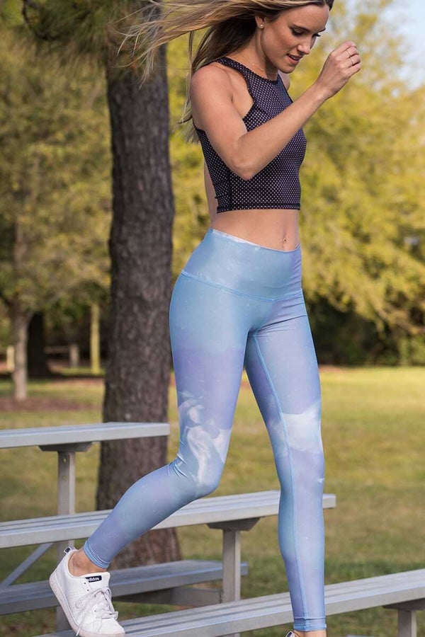 SEA YOGI // High Horses hot pant in Blue by teeki, recycled yoga leggings, Sea Yogi, visual