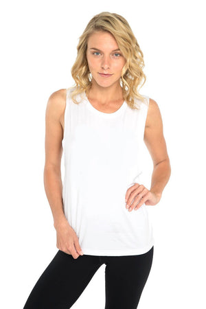 DHARMA BUMS BAMBOO CLASSIC BOYFRIEND TEE IN WHITE AND FRONT IMAGE