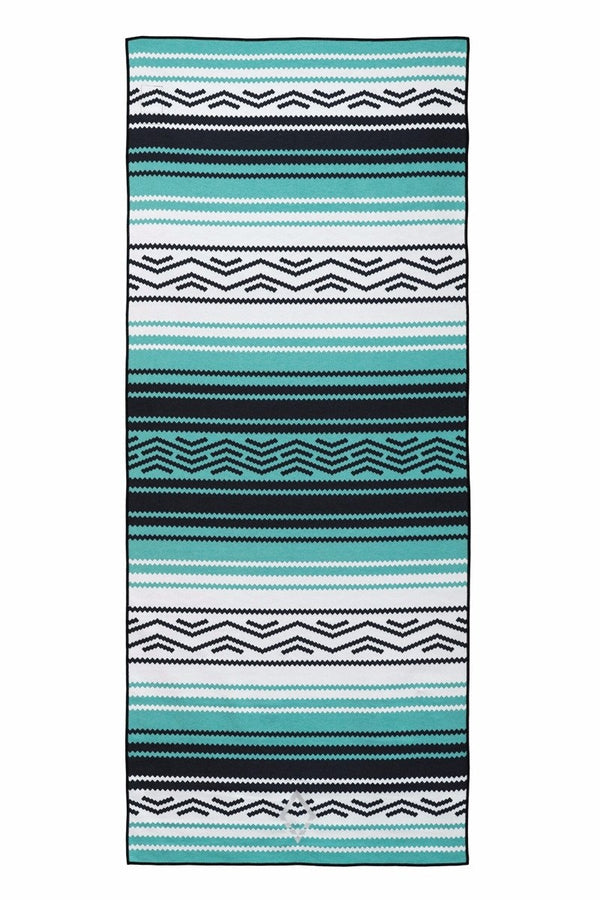 NOMADIX DOUBLE SIDED YOGA AND BEACH TOWEL IN BAJA AQUA STYLE AND FRONT