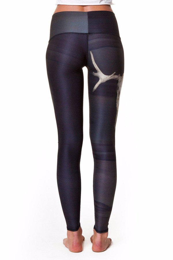 Teeki Deer Medicine Hot Pant in Charcoal style and back image, Online Yoga Shop - SEA YOGI