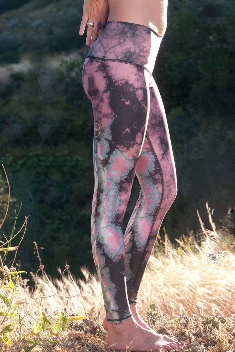TEEKI EAGLE FEATHER HOT PANT IN PINK AND RIGHT SIDE IMAGE - Sea Yogi