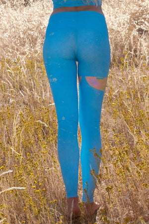 TEEKI  RAINBOW PRIESTESS HOT PANT IN BLUE AND BACK IMAGE - Sea Yogi