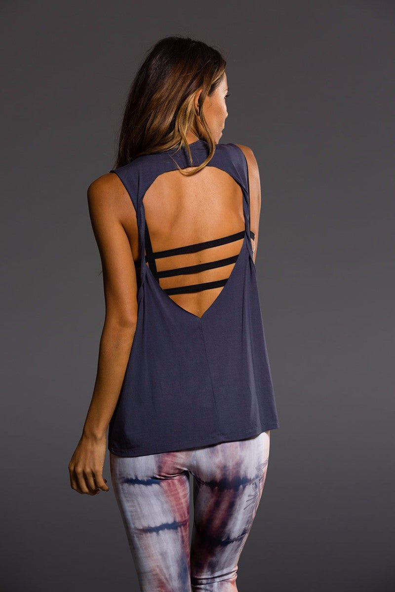 ONZIE TWIST BACK TOP IN MIDNIGHT COLOUR AND BACK IMAGE