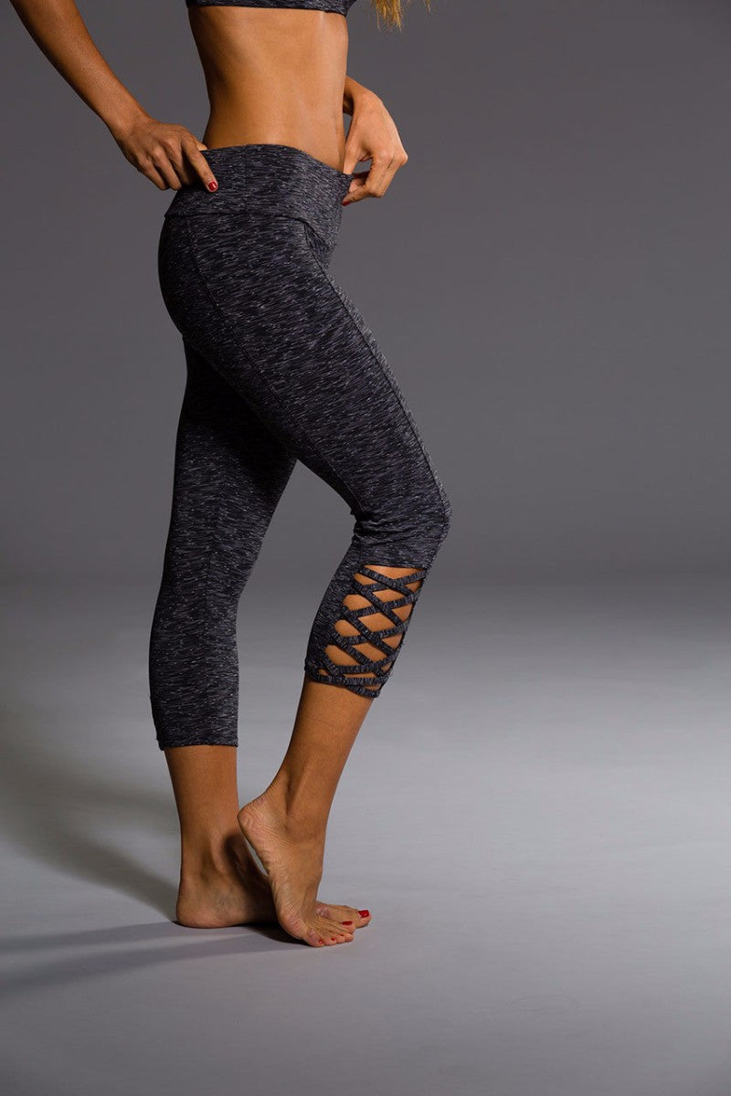 ONZIE WEAVE CAPRI PANT IN HEATHER GRAY AND RIGHT SIDE IMAGE