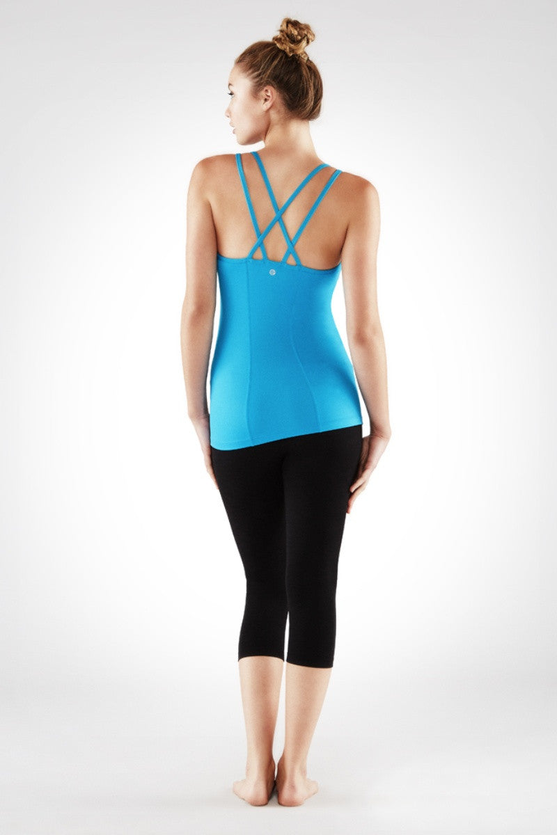 MANDUKA CROSS STRAP CAMI 2.0 IN CYAN BLUE COLOUR AND BACK IMAGE