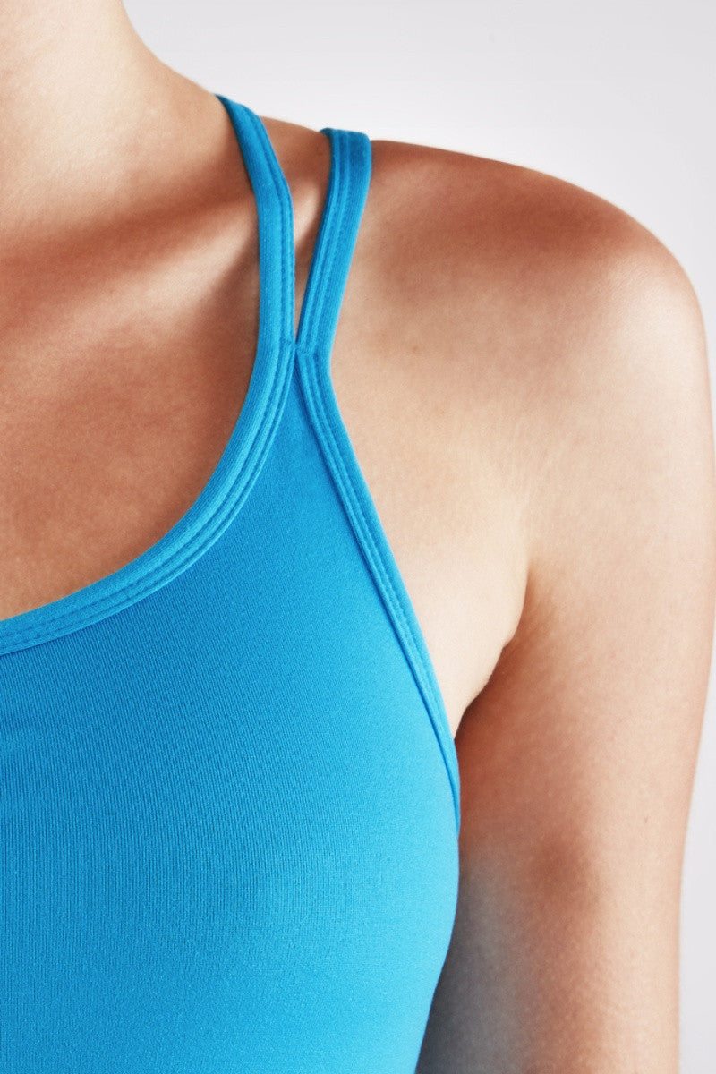 MANDUKA CROSS STRAP CAMI 2.0 IN CYAN BLUE COLOUR AND CLOSE UP IMAGE