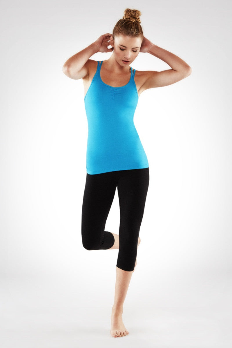 MANDUKA CROSS STRAP CAMI 2.0 IN CYAN BLUE COLOUR AND FRONT IMAGE