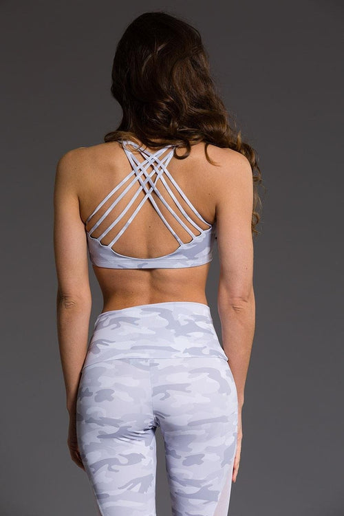 Onzie // Chic Bra in Gray camo - back image - Sea Yogi