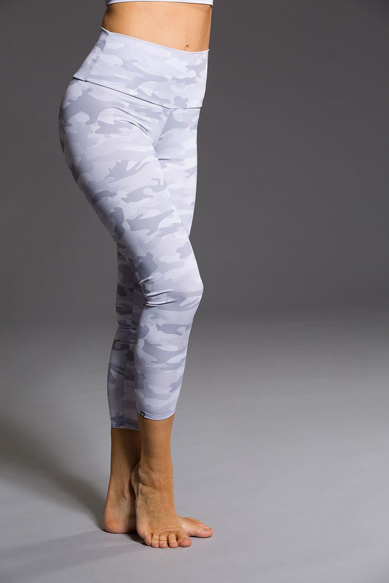Onzie // High basic midi legging in Gray camo - side image - Sea Yogi