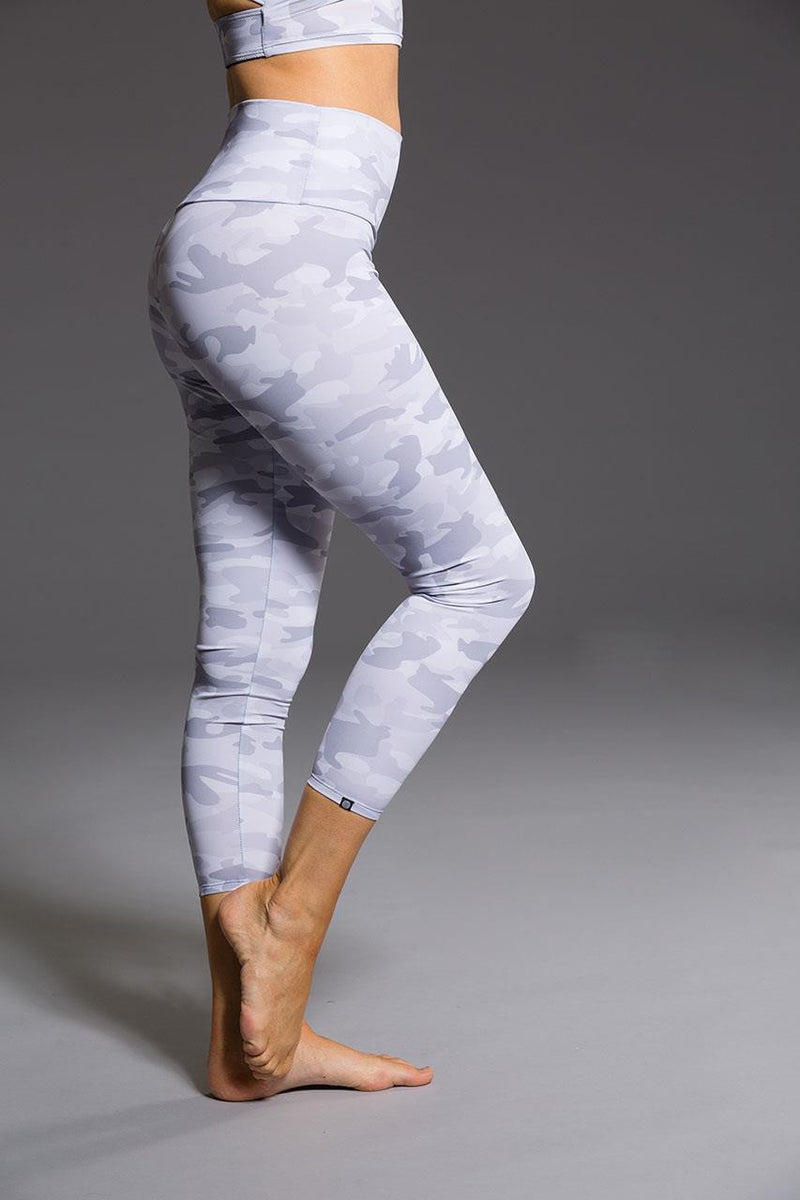 Onzie // High basic midi legging in Gray camo - right side image - Sea Yogi