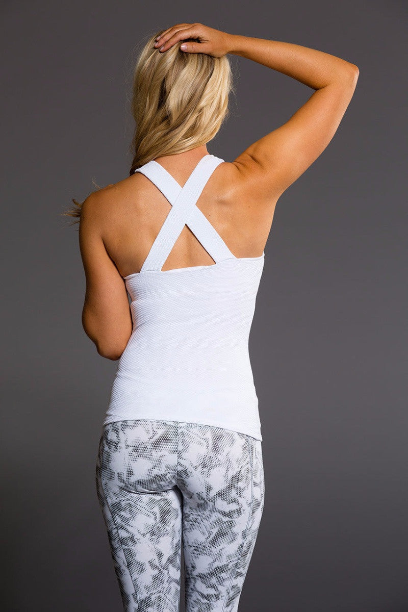 Onzie // Long x back tank top in white and of the back - Sea Yogi