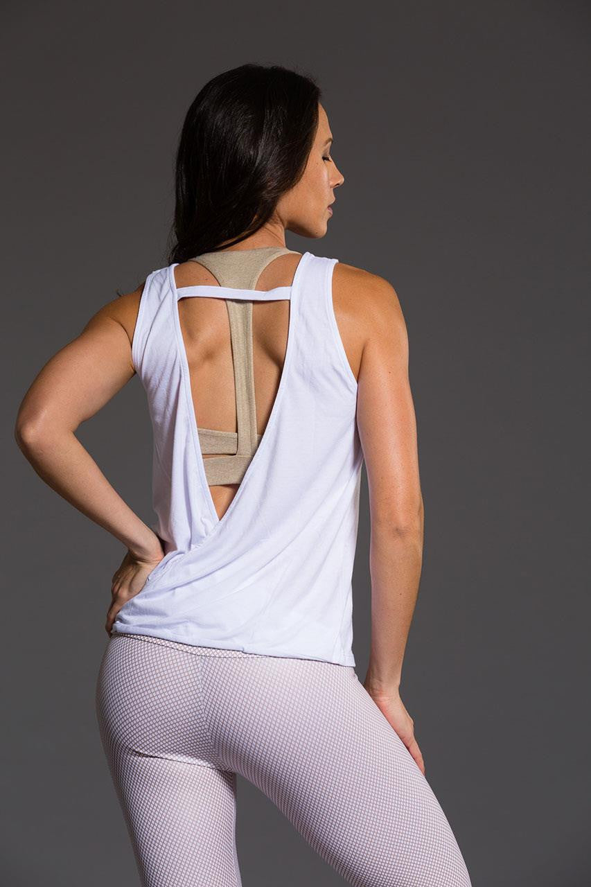 Onzie V back tank top in white colour, back two image - Sea Yogi