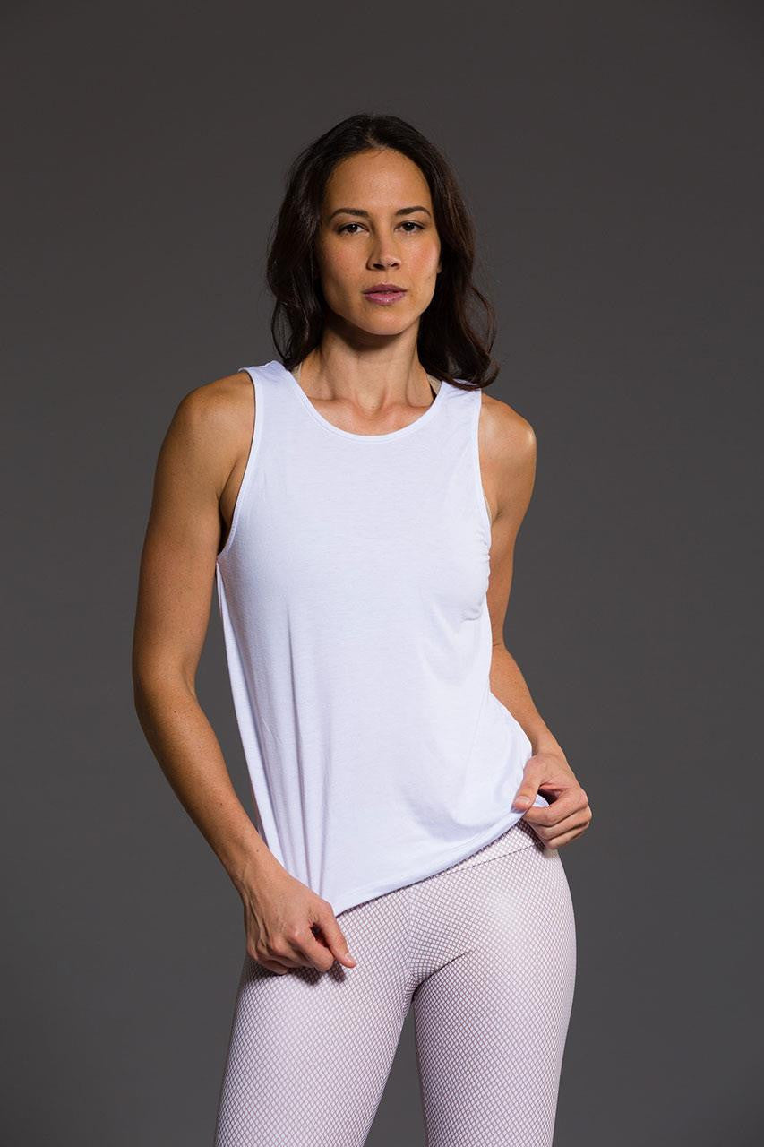 Onzie V back tank top in white colour, front image - Sea Yogi