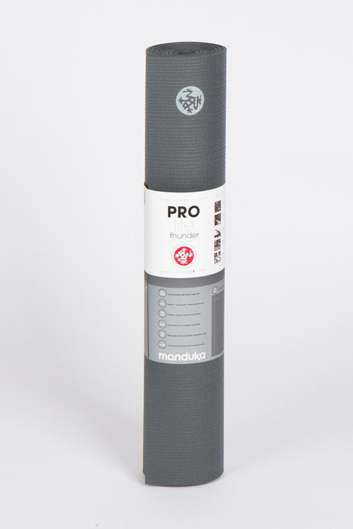 MANDUKA PROLITE YOGA MAT THUNDER STYLE AND FRONT FACING IMAGE