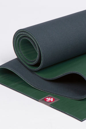 MANDUKA EKOLITE YOGA MAT SAGE STYLE AND CLOSE UP IMAGE
