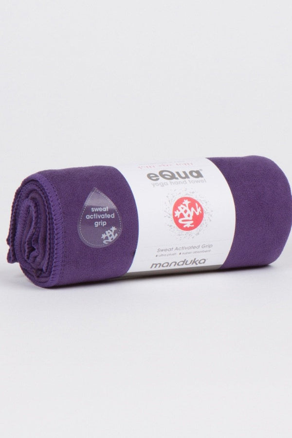 MANDUKA eQUA HAND YOGA TOWEL IN MAGIC STYLE AND ROLLED UP IMAGE