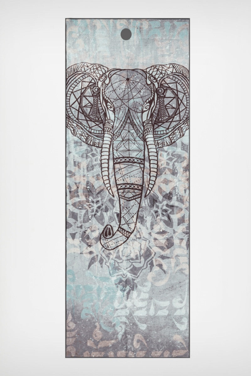 MANDUKA YOGITOES SKIDLESS MAT TOWEL IN STABILITY GANESH STYLE AND SPREAD OUT IMAGE