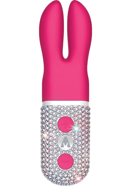 The Pocket Rabbit Limited Edition Crystalized Rechargeable Silicone Hot Pink And White