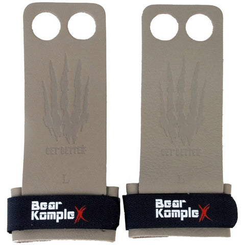 Bear KompleX 2 Hole Hand Grips | Grey Leather | WOD Gear UK | RXROX