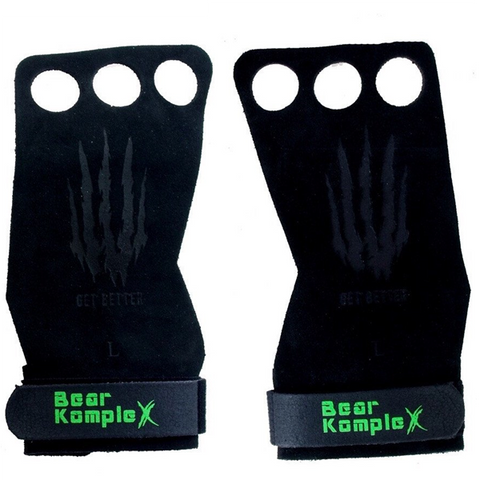 Bear KompleX 3 Hole Hand Grips | Black Suede | WOD Gear UK | RXROX