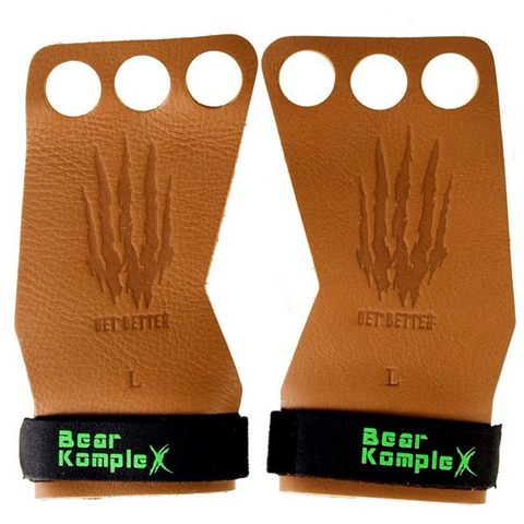Bear KompleX 3 Hole Hand Grips | Tan Leather | WOD Gear UK | RXROX
