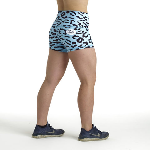 Halo Aqua Leopard High Rise Roll Down Booty Shorts