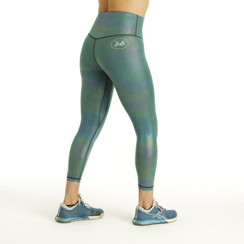 Halo 7/8 Squat Stretch Aqua Shimmer Leggings