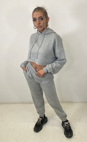 Grey Cropped Tracksuit