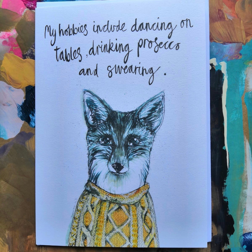 Card, Jude the fox, 'My hobbies include dancing on tables, drinking prosecco and swearing'
