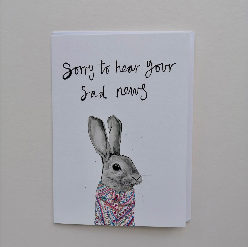 Cards, AS37SORRY, Francis bunny, 'Sorry to heat your sad news'