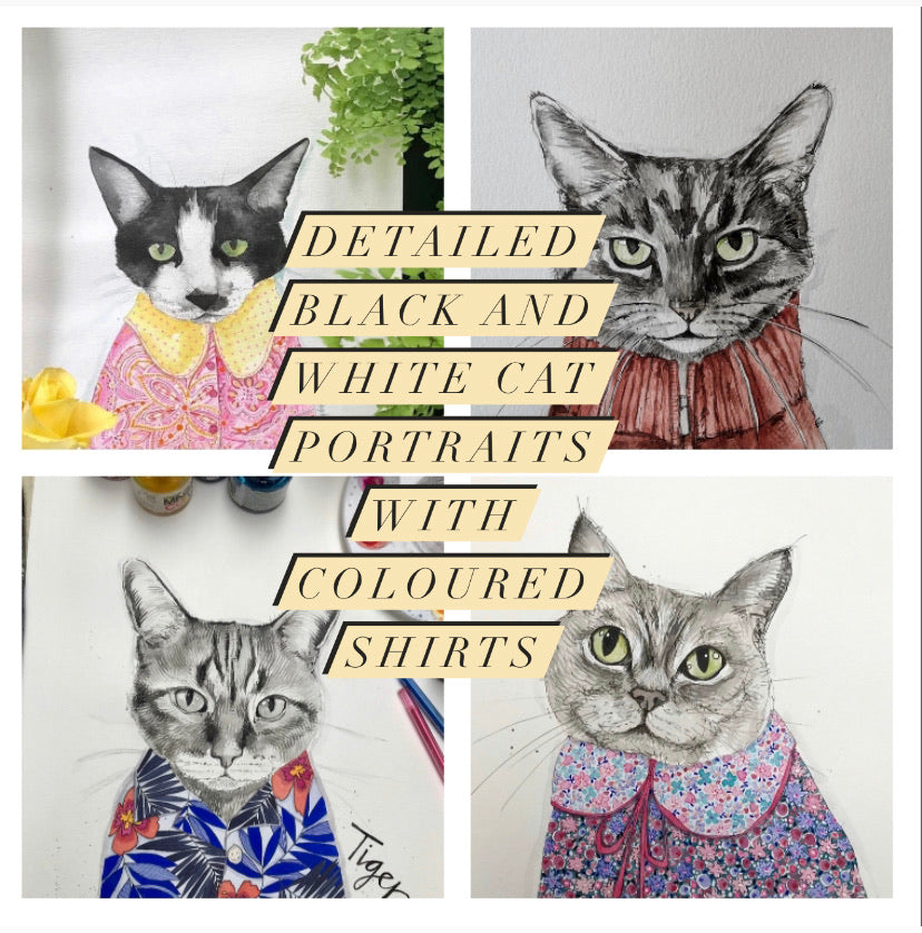 Pet portrait, black and white watercolour cat with coloured shirt