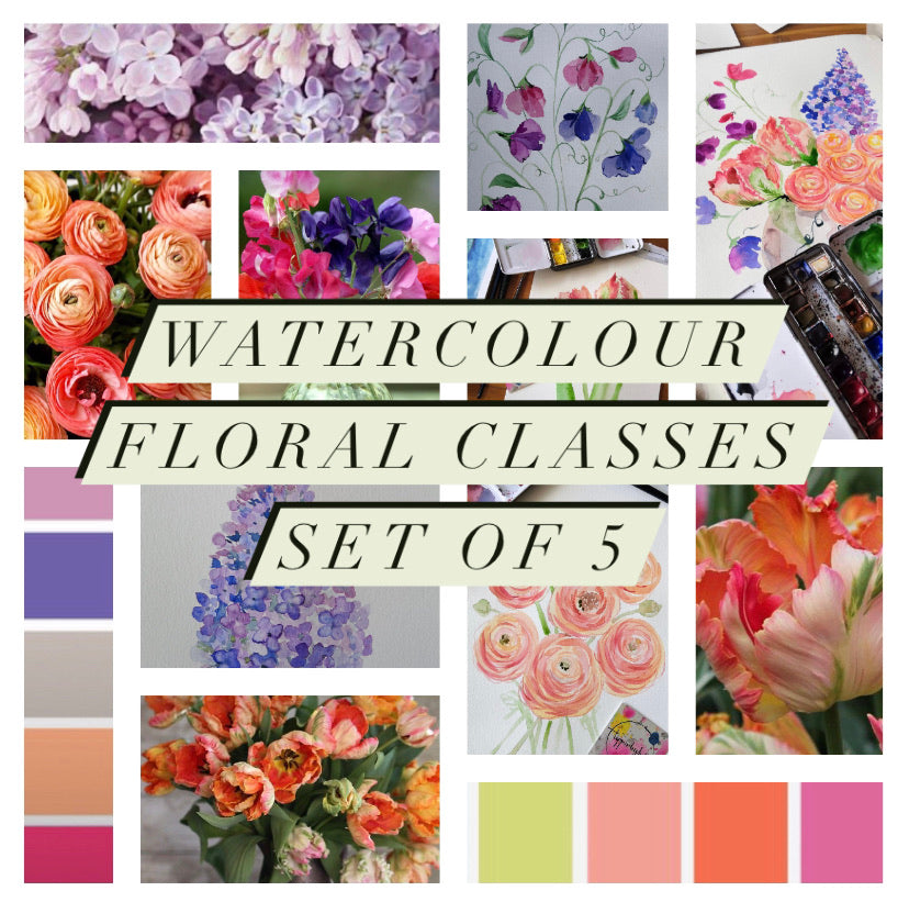 Watercolour art classes series, 5 watercolour floral classes starting Saturday 17th April weekly at 11am